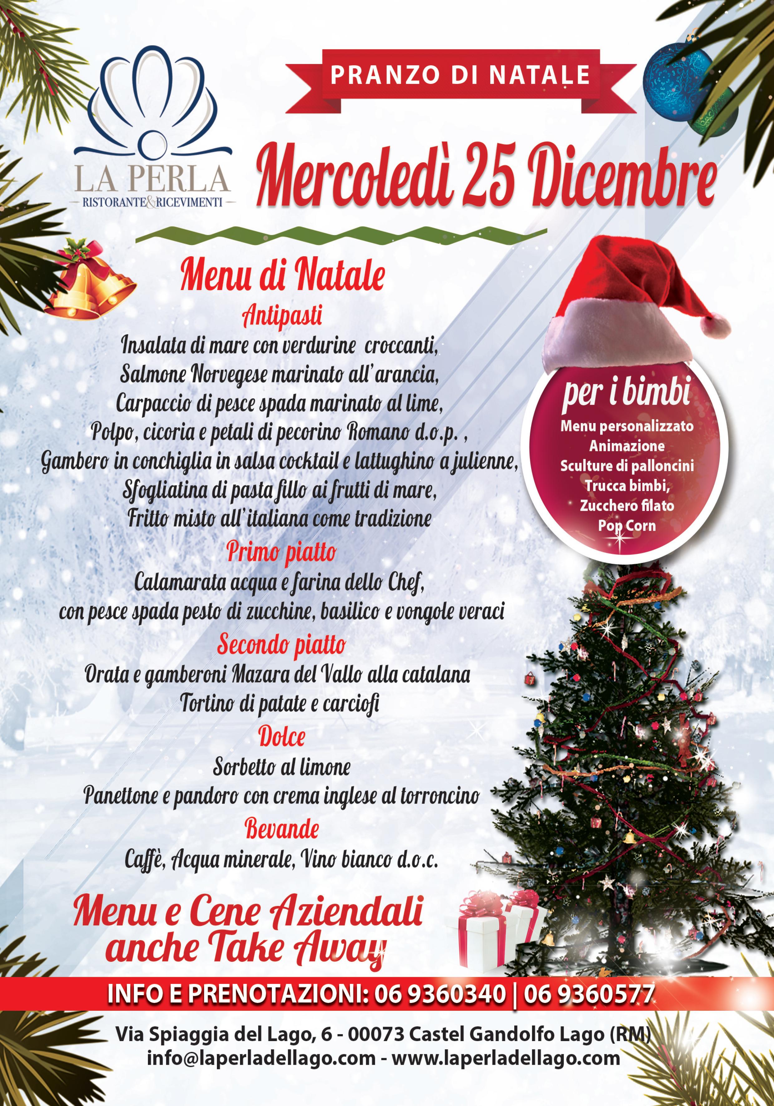 Menu di Natale 2019 ristorante la perla castel gandlfo